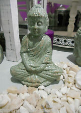 Keramik BUDDHA sitzend Antikfinish Türkisgrün Meditation Gartendeko Feng Shui