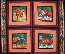 """Wild Wings 34"""" Fabric Panel - River's Bend Horse Pillowcase Scene Springs Cotton"""