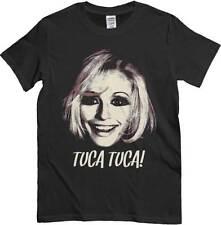 T-Shirt Raffaella Carrà, maglietta nera Tuca Tuca, immagine vintage, pop art