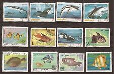 68T3 VIETNAM 12  timbres obliteres Poissons des mers
