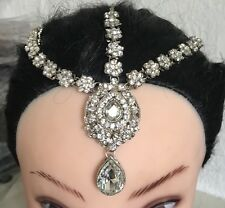 Silver Crystal Indian Matha Patti Tikka Head Chain Jewelery Bridal Wedding No.2