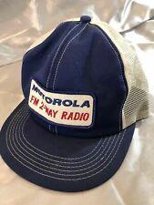 VTG Motorola Fm 2-Way Radio Mesh Cap Blue White Adjustable Snapback Trucker Hat