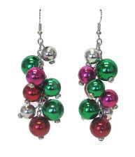 CHRISTMAS ORNAMENTS Dangle Earrings Red Pink Green Silver Dangle Pierced Earring