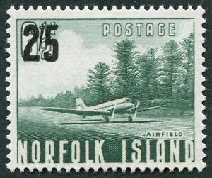 NORFOLK ISLAND 1960 2s5d on 6 1/2d bluish green SG38 mint MH FG Airfield #A05