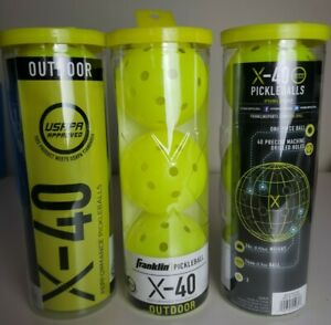 Lot of 3 Franklin Sports X-40 Performance Outdoor Pickleballs - USAPA Approved