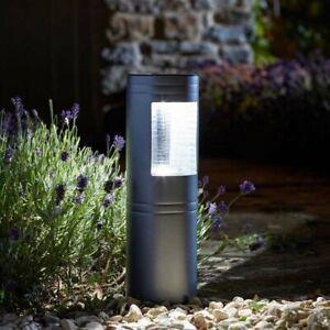 Large Solar Bollard Light Stainless Steel 30 Lumen Garden Patio Border Stake
