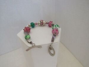 Sterling Silver Murano Glass Sterling Accent Bead Toggle Clasp bracelet Hallmark