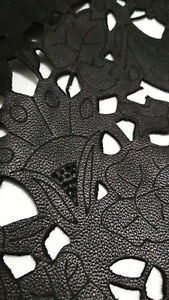 Black  Laser Cut & Engraved and embossed Engrave lamb hide skin leather DE18