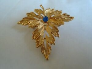 Leaf Brooch With A Blue Stone