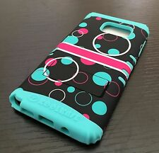 For Samsung Galaxy Note 5 - HYBRID HIGH IMPACT ARMOR CASE COVER BLUE PINK BUBBLE