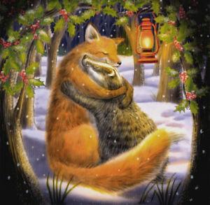 YULE CHRISTMAS GREETING CARD Yuletide Hug PAGAN FOX BADGER GODDESS WENDY ANDREW