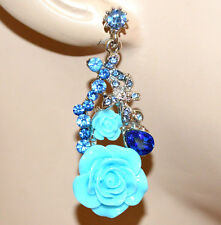 PENDIENTES azul celestial turquesa mujer cristales colgantes strass earrings BB6