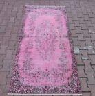 Pale Pink Vintage Area Rug Anatolian Handmade Oriental Overdyed Carpet 4x7 ft