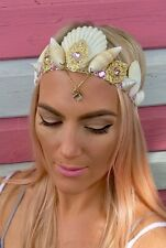 Pink Diamond Jewelled Sea Shell Mermaid Crown Hair Head Band Choochie Choo Beach