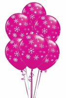 "25 pcs 12"" Pink Snowflakes & Sparkles Balloons Birthday Party Decoration"