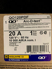 Square D QO120PDF 1 Pole 20 A Arc-D-tect COMBO ARC-FAULT & GROUND NEW IN BOX