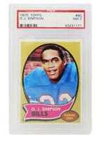 O.J. Simpson (Buffalo Bills) 1970 Topps Football #90 RC Rookie Card PSA 7 NM (A)