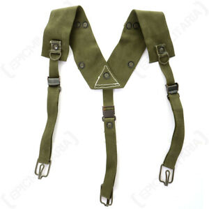 Original Czech Army Military Y-Strap Suspenders Braces - Olive Green