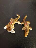 "Vintage Set of Miniature Bone China ""Alligators"" (3"" Long) Made in Japan"