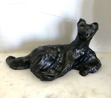Belle sculpture bronze contemporain chat couché ALLEY XXe (DLG Bugatti, Jouve..)