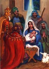 """Original Oil painting """"Three Wise Men"""" by Qi Debrah,Religious,Size8""""x11"""",US"""