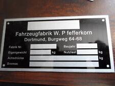 Typenschild  Anhänger Schild Pfefferkorn Bestattungsanhänger Leichenwagen Sa