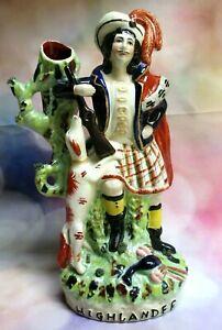 Antique Staffordshire Highlander Hunter w/ Dog Figural Figurine Spill Vase