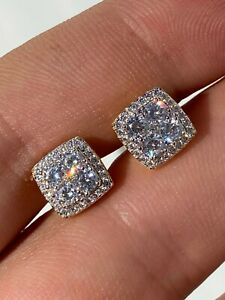 Real Solid 925 Silver Iced CZ Hip Hop Earrings Studs 14k Gold Finish Square ICY