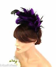 Stunning Purple & Black Feather Fascinator Burlesque Head Piece on a Headband