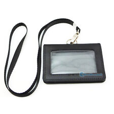 Business ID Card Holder Badge Genuine leather and Clasp Neck Strap Lanyard