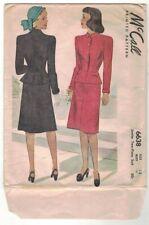 Vintage Dress Suit Skirt Jacket McCall 6638 Pattern 1946 Sewing Uncut FF Unused