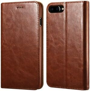 Brown wallet Case For iPhone 7 Plus and iPhone 8 Plus Leather Flip Wallet Cover