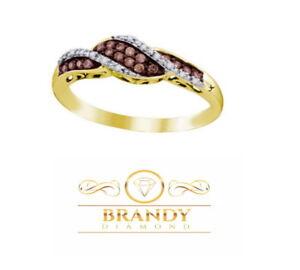 Brandy Diamond® Chocolate Brown 10K Gold Classic Wave Design Ring .23 Ct
