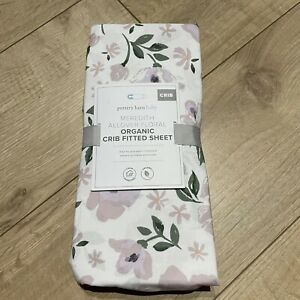 Pottery Barn Baby Meredith Allover Floral Organic Crib Fitted Sheet Purple White