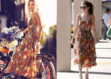 Free People FP One Criss Cross Florals Boho Maxi Dress XS ASO Selena Gomez Rare
