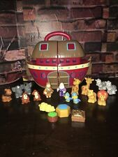 Veggie Tales NOAH'S ARK Play Set Red Brown Animal Figures Wife Bible Big Idea