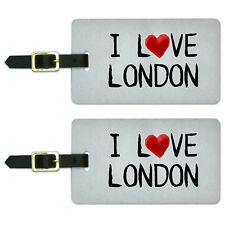 I Love London Written on Paper Luggage Suitcase Carry-On ID Tags Set of 2