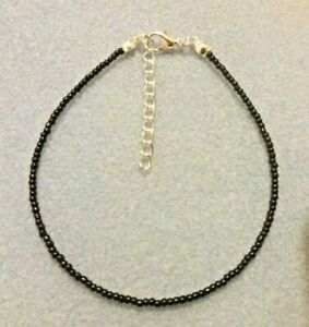 BLACK HANDMADE SEED BEAD ANKLE BRACELET CHAIN OPAQUE ANKLET SILVER PLATED