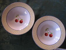 """Cherries Jubilee"" 2 LARGE RIM SOUP  BOWLS (2 cups liquid) Noble Excellence  NEW"