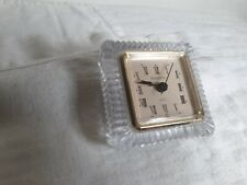 "Shannon Fine Crystal Quartz 3.5"" Square Tabletop Clock pre-owned Tested"