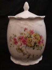 Late 19th Century Victorian Porcelain Floral Biscuit Jar / Covered Jar