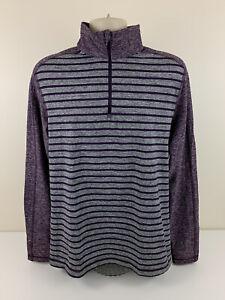 Lululemon 1/4 Zip Purple Striped Long Sleeve Activewear Shirt Mens Size L Large