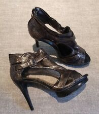 George size 6 (39) metallic faux snakeskin leather zip up stiletto heels