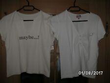 2 T-Shirts kurzarm taillenlang weiß mit Steinchen / beige für Damen Gr. 36/38