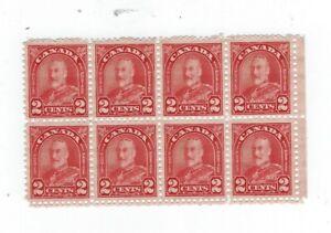 Canada 1930 Arch 2c red  #165 Block of 8  MNH  Fine, Fine-Very fine $8