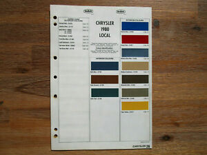 Chrysler Valiant Dulux Colour Chip Sheet/Brochure 1980 Local and Import Colours.