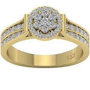 SI1 G 1.01 Ct Round Cut Diamond Designer Engagement Ring 14K Yellow Gold 9.15MM