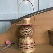 Lamp Shade Wooden Woven Bamboo Hanging Green Light Shades Wicker Basket Handmade