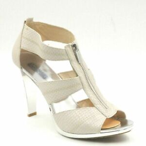 Michael Michael Kors Berkley Women T Strap Sandals US 8.5M Cream Grey Leather