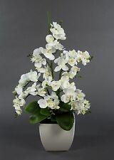 Orchideen-Arrangement weiß im weißen Dekotopf JA künstliche Orchidee Kunstblumen